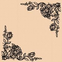 Formulário de canto do vetor de uma rosa com as folhas para decorar, projeto, decoração, seu projeto.