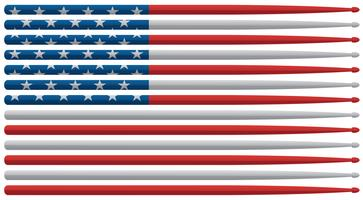 American drummer drum sticks flag with red, white and blue stars and stripes drum sticks isolated vector illustration