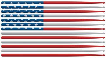 De Amerikaanse slagwerkerstrommel steekt vlag met rode, witte en blauwe sterren en de trommelstokken geïsoleerde vectorillustratie van strepen aan