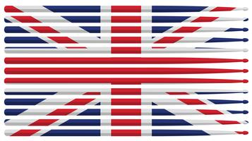 United Kingdom drummer drum stick flag with red, white and blue striped drum sticks isolated vector illustration