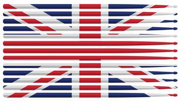 Bandera del palillo del tambor del tambor del Reino Unido con palillos de tambor rayado rojo, blanco y azul aislado ilustración vectorial