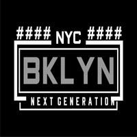 T-shirt de conception de typographie New York Brooklyn