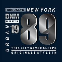 T-shirt de conception de typographie New York Free Style