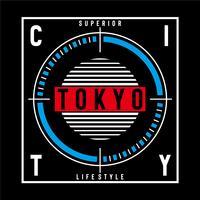 erior tokyo Typografie-Vektorillustration für T-Shirt