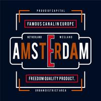 T-shirt di design tipografia della città di Amsterdam per maglietta