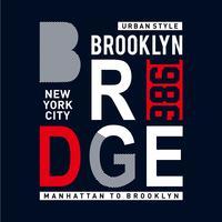 tipografia grafica di progettazione della maglietta di stile del ponte di Brooklyn Brook