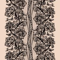 Abstract seamless lace pattern with flowers and butterflies.