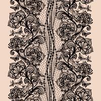 Abstract naadloos kantpatroon met bloemen en vlinders.