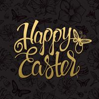 Happy Easter gold sign, symbol, logo on black background.