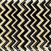 Seamless patterns with blue, black, gold, zigzag lines and points, striped, gift boxes and dots.