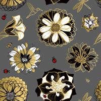 Seamless pattern flowers, butterflies, hummingbirds, dark background.