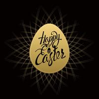 Gelukkige Pasen-tekenbrieven op gouden ei, symbool, embleem op een zwarte achtergrond met uitstekende sunbusrt.