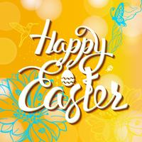 Happy Easter sign, symbol, logo on a  yellow background with the flowers.