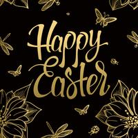 Happy Easter gold sign, symbol, logo on black background with the flowers and butterfly.