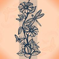 Abstraktes nahtloses Spitzemuster mit Blumen und Schmetterlingen. Unendlich Tapete, Dekoration für Ihr Design, Dessous und Schmuck.
