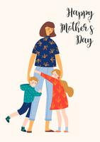 Happy Mothers Day. Vector illustration with woman and children.