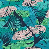 Seamless exotic pattern with tropical plants. Vector background.