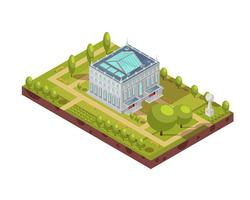 University Building With Park Isometric Layout