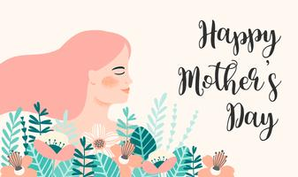 Happy Mothers Day. Vector illustration with woman and flowers.