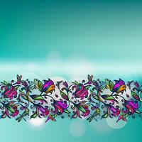 Abstract color vector lacy seamless pattern of elements flowers and butterflies on blurred background with bokeh elements.