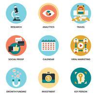 Bedrijfspictogrammen die voor zaken worden geplaatst