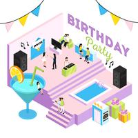B-Day Party Isometric Composition