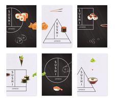 Set de banners de sushi japonés vector