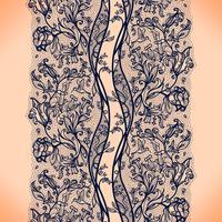 Abstract naadloos kantpatroon met bloemen en vlinders. Oneindig behang, decoratie voor je ontwerp, lingerie en sieraden.