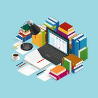 Educational Books Isometric Illustration