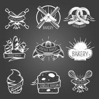 Estilo Vintage de rótulos monocromáticos de padaria
