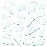 Insieme realistico di frammenti di frammenti di vetro rotto