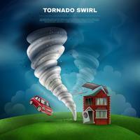 Ilustração de desastre natural de tornado