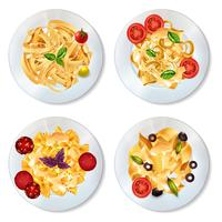 Set de platos de pasta vector