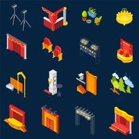 Conjunto de ícones isométrica de teatro
