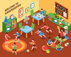 Kindergarten Interior Isometric Composition