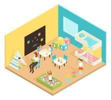 Concepto de diseño isométrico de sala de juegos de jardín de infantes