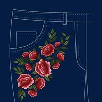 Jeans Folks Floral Embroidery Pattern  vector