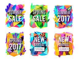 Försäljning Färgglada Abstrakt Bakgrund Banners Set