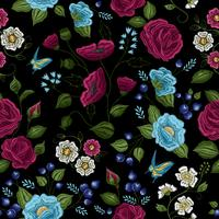 Floral Embroidery Seamless Pattern