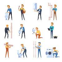 werkende loodgieters egale kleur pictogrammen instellen