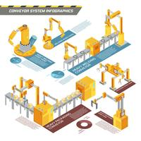 Conveyor System Isometric Infographics