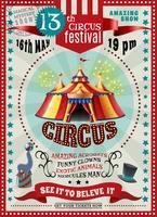 Poster retro do anúncio do festival do circo