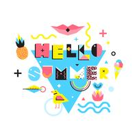 Hello Summer Memphis Style Illustration vector