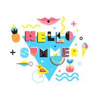 Hello Summer Memphis Style Illustration