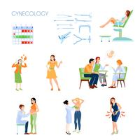 Conjunto de ícones plana de ginecologia
