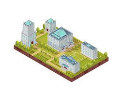 Complex Of University Buildings Isometric Layout