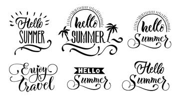 Hello Summer Lettering Set vector