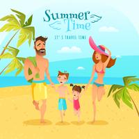 Familienjahreszeit-Sommer-Illustration