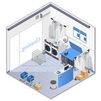 Composição isométrica interior de lavanderia