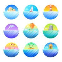 Set di icone colorate tondo isola tropicale